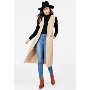 JustFab maxi faux wool vest